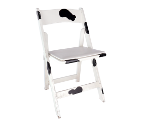 Chair, Cow Print Wood Folding Chair with Padded Seat
