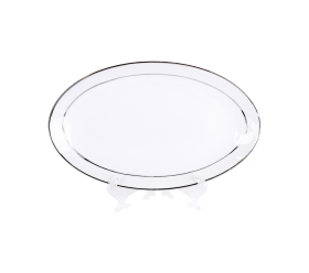 """White and Silver China, 6"""" X 10"""" Platter"""