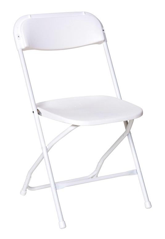 Chair, White Plastic Folding